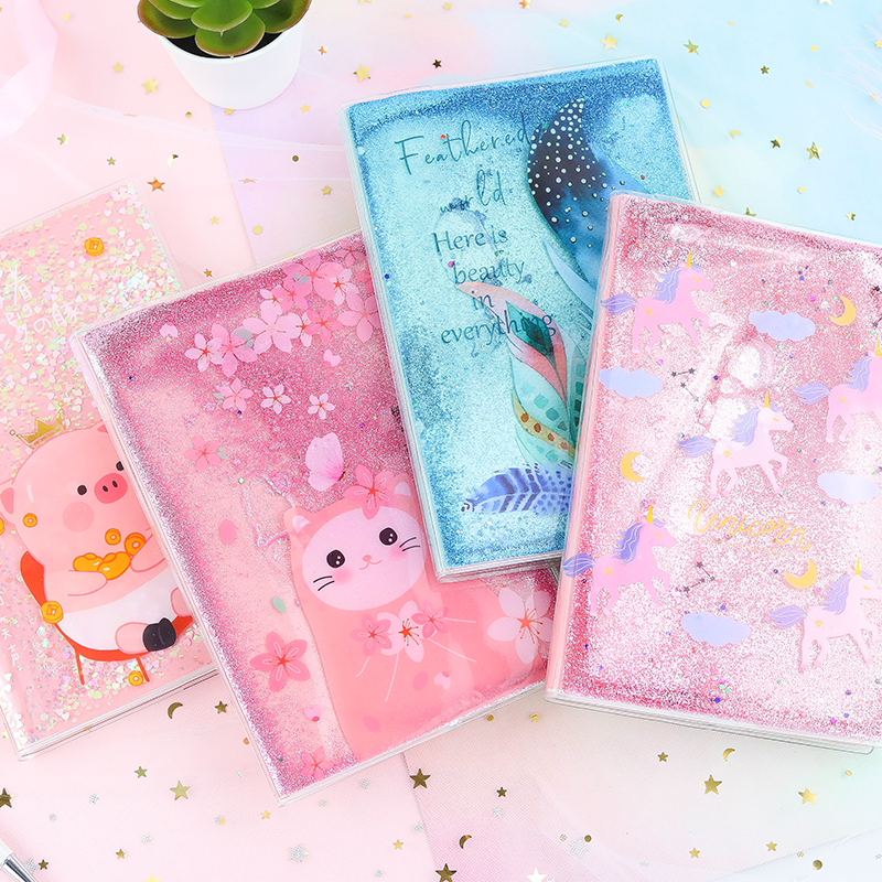1 Pcs Kawaii PVC Unicorn Planner Book Liquid Quicksand Journal Pig Diary Study Notebook School Stationery Office Supplies