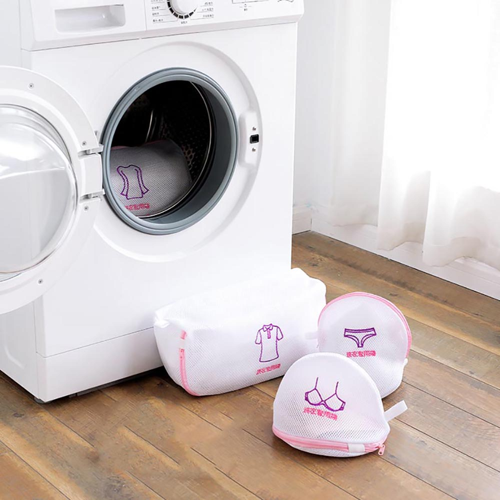 2pcs/set Mesh Laundry Bags Zipped Underwear Bra Wash Bags Clothes Socks Storage Household Laundry Storage Bag