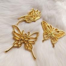 5 stücke DIY Goldene Schmetterling Anhänger Schmuck Metall Rahmen Zubehör Füllungen Charms Handmade UV Harz Ohrringe Einfassungen Handwerk