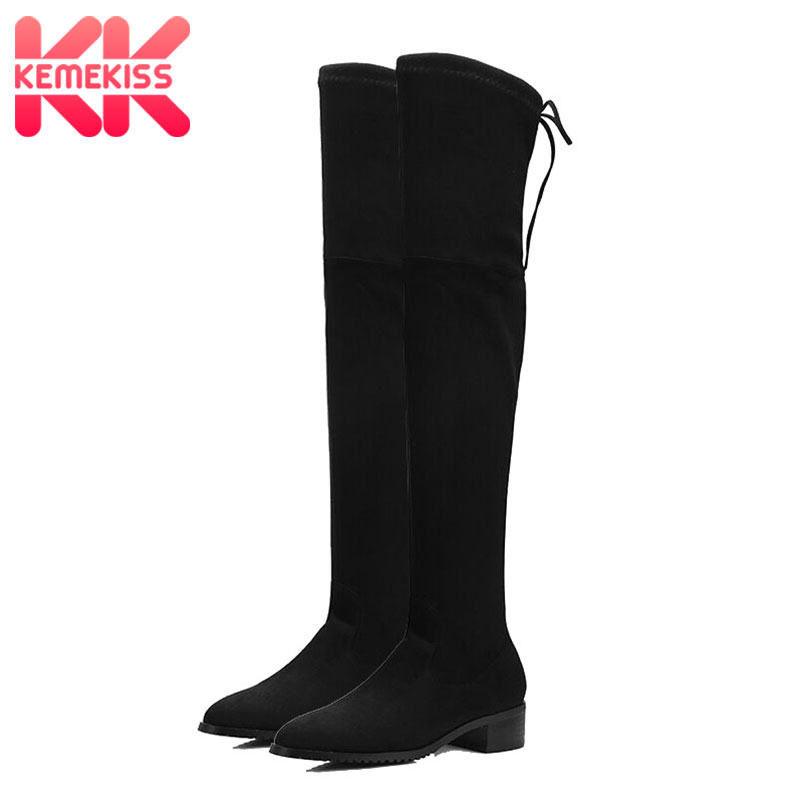 KemeKiss 2020 Women Winter Boots Autumn All Match Elastic Fabric Over The Knee High Shoes Square Flats Women Boots Size 34-43