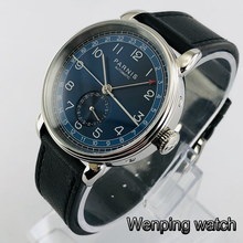 New Parnis 42mm silver case blue dial GMT arab mark date window leather strap mens top leisure autom