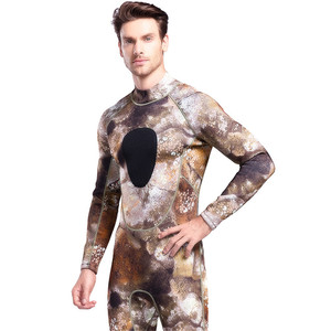 Image 2 - 3MM Super Elastic Neoprene Diving Suit Mens Wetsuits Long Piece Conjoined Camouflage Cold Warm Diving Suit Swimming Sportswear