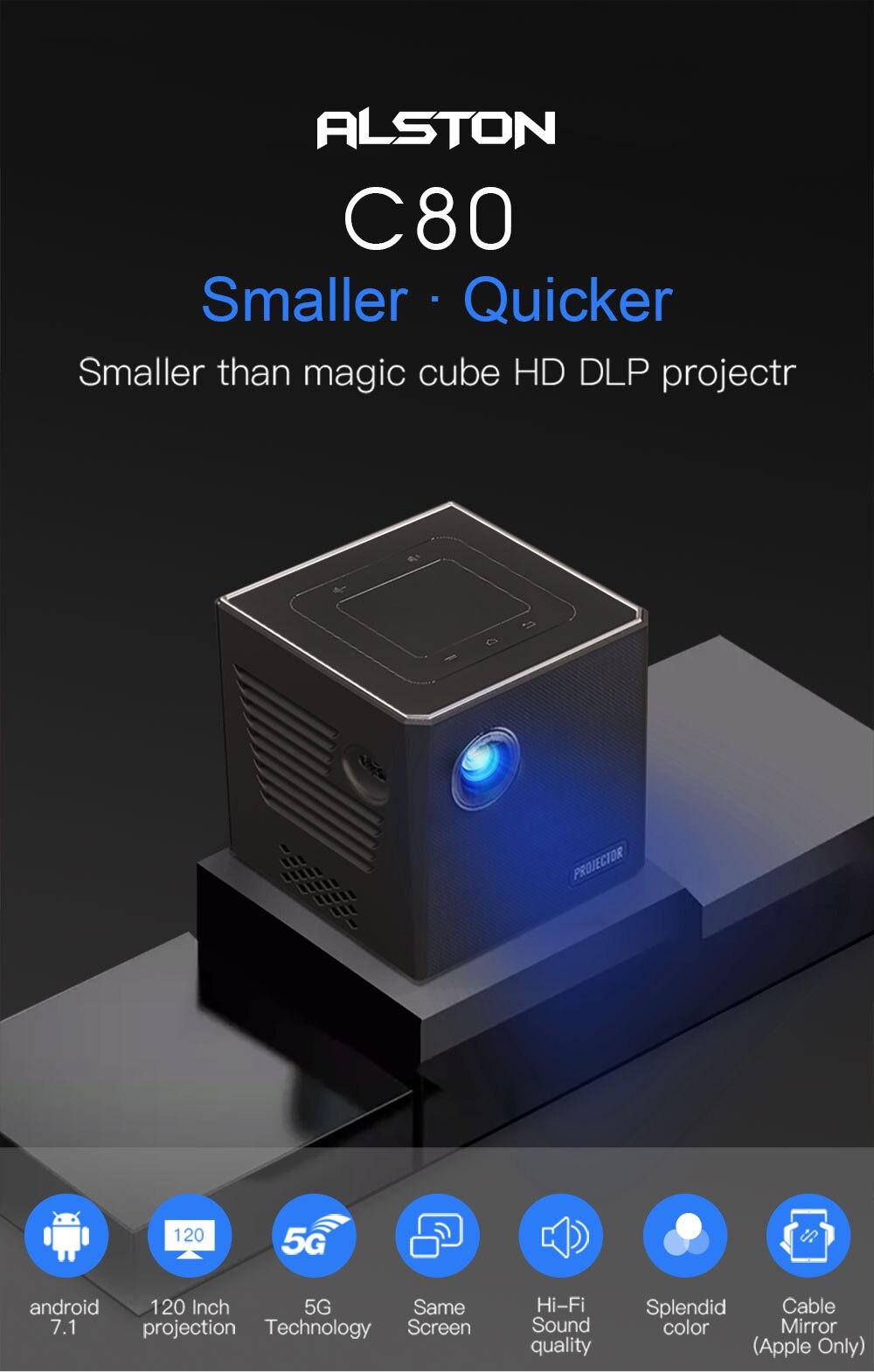Alston c80 mini dlp android projetor wifi bluetooth 4.0 portátil led projetor de vídeo cinema em casa apoio miracast airplay-1