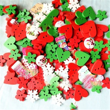 A pack of Christmas series button size mixed wooden buttons handmade diy clothing decoration supplies heart-shape button