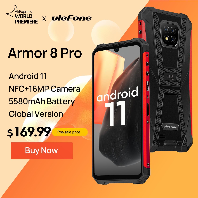 Ulefone Armor 8 Pro прочный смартфон Android 11 6 ГБ + 128 Гб NFC/ip68/IP69K смартфон 5580mAh Водонепроницаемый мобильный телефон