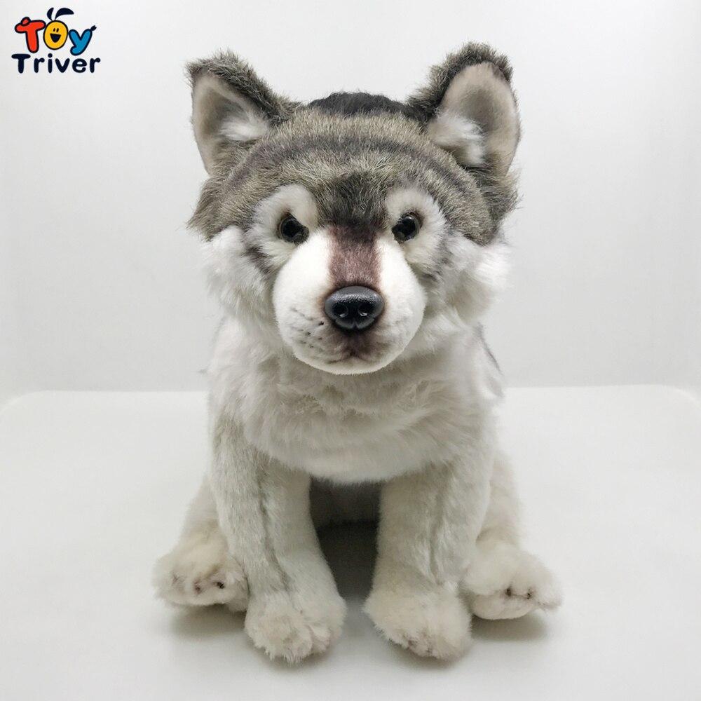 Реалистичный волк Собака Хаски щенок плюшевая игрушка тривер чучело Детские куклы для малышей волк подарок любимым на день рождения украшение для дома магазина