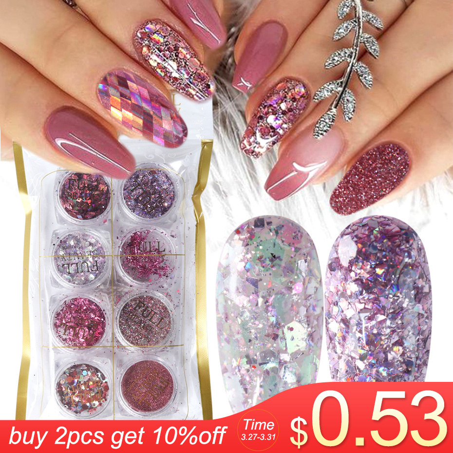 8 Box Mix Glitter Nail Art Powder Flakes Set Holographic Sequins For Manicure Polish Nail Decorations Shining Tips LA1506-05-2