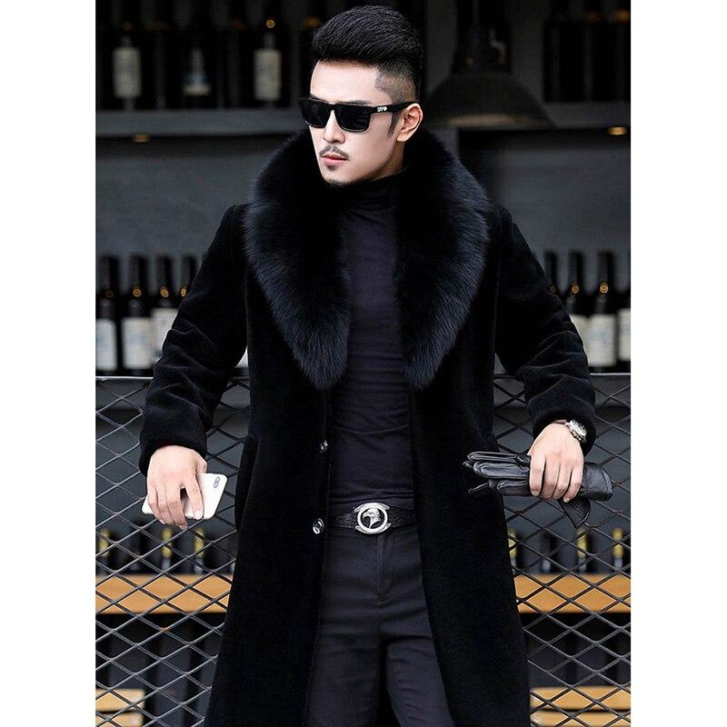 Faux Fur Coat 2019 Winter Leather Jacket Mink Fur Clothes Long Jackets Men Luxury Thicken Warm Plus Size 6XL Male Plush Coat