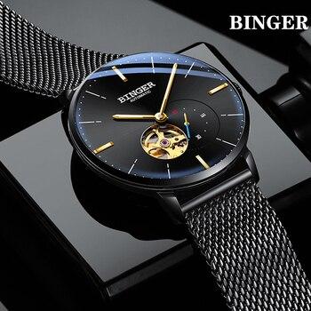 BINGER Top marque de luxe montre d'affaires pour homme en acier hommes montre miborough automatique mécanique Wirstwatch étanche relogio masculino
