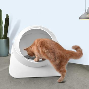 Cat Litter Box Top Entry Litter Box Splash Prevention Deodorization Cats Toilet with Litter Scoop White Pet Bedpans фото