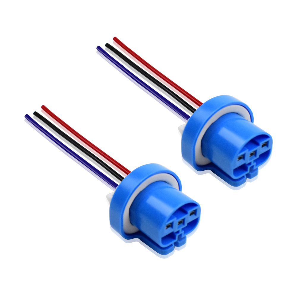 Dyoung 2pcs 9004 9007 H/L Hb1 Hb5 Metal Base Bulb Socket Lamp Holder Auto Parts Male To Bus Connector Copper Core Wire