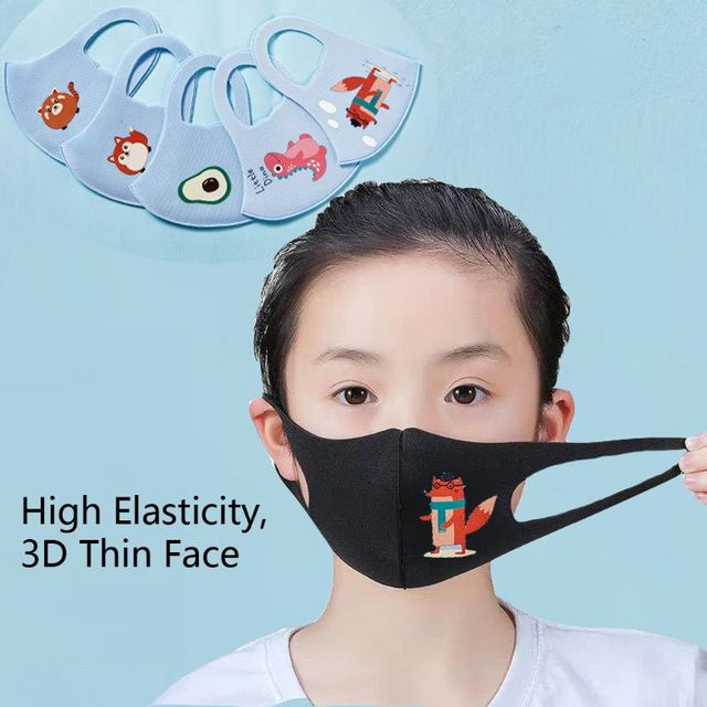 10Pcs PM2.5 Kid Reusable Anti Flu Face Mask Breathable Sponge Dustproor Mouth Mask Random Pattern for Children reusable 4