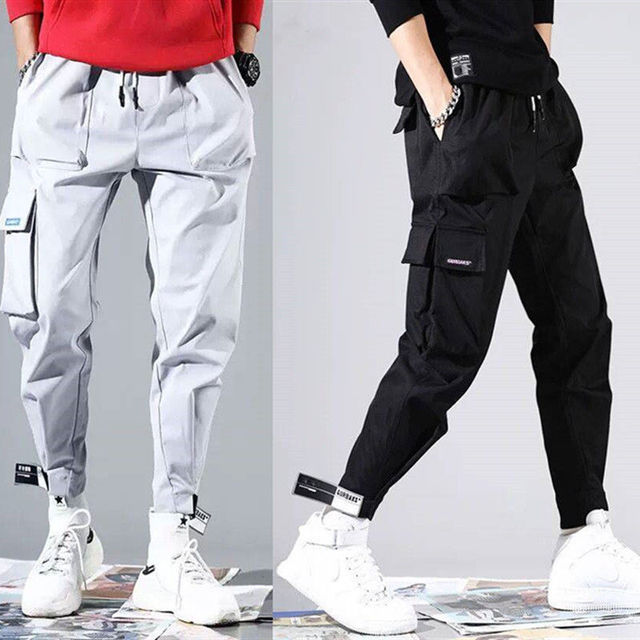 2020 sıcak satış erkekler Hip Hop Patchwork Sweatpants Joggers pantolon rahat İpli spor pantolon erkek Hip Hop kişilik pantolon