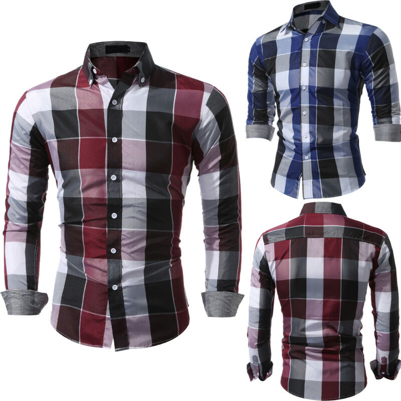 Fashion Men Slim Fit Long Sleeve Cotton Shirt Plaid Casual Button Plaid Tops