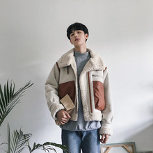 Mens jacket 2019 autumn and winter new short lapels fur thickening lamb hair tooling youth trend mens clothing