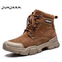 JUNJARM Brand Autumn Winter Men Boots Vintage Style Shoes High Quality Motorcycle Fashion Warm Casual