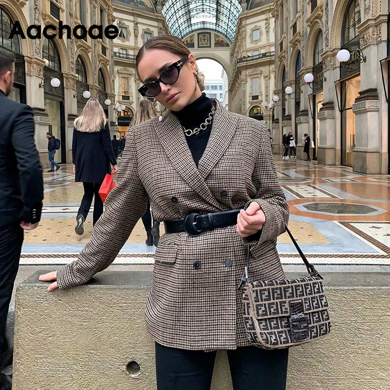 Women Vintage Double Breasted Office Plaid Blazer Long Sleeve Loose Houndstooth Suits Coat Ladies Blazers Jackets Outerwear