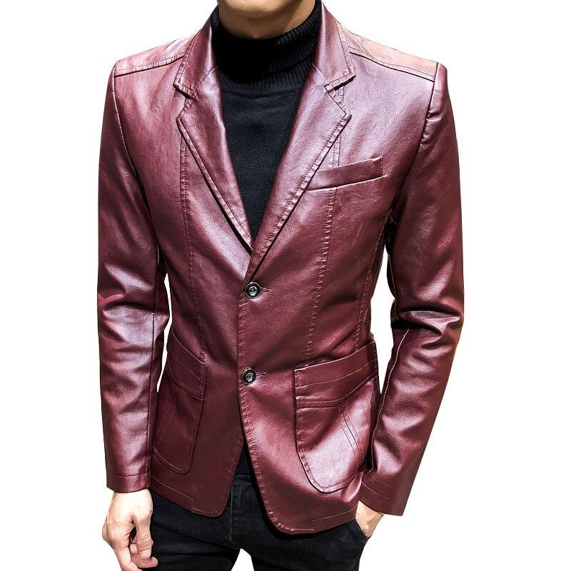 2019 été nouveau Style coréen-style tendance hommes vêtements en cuir PU veste printemps et automne nouveau Style hommes vêtements costume col vêtements