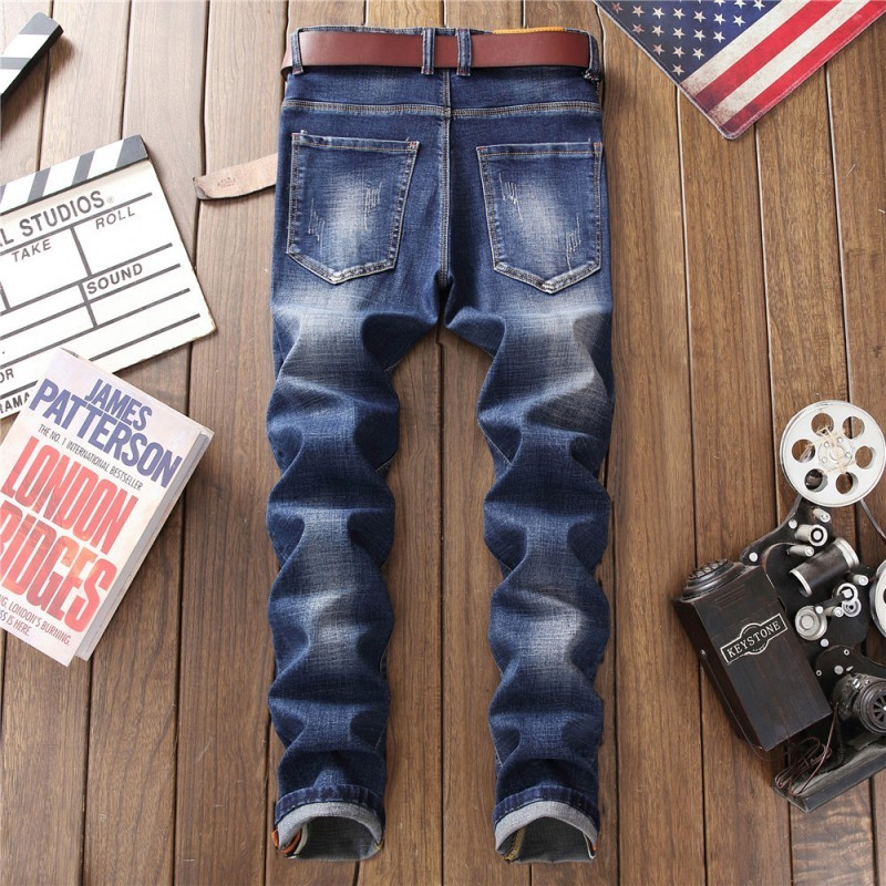 Fashion Male Biker Jeans Hole Denim Pencil Pants Mens High Street Floral Embroidery Skinny Trousers Big Size Motorcycle Jeans