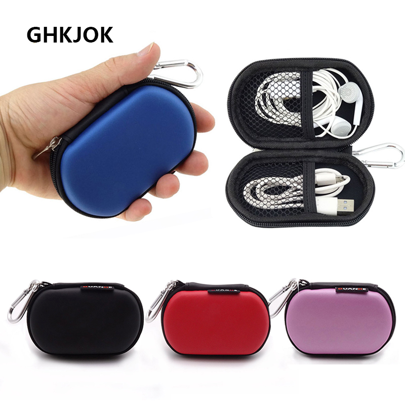Portable Headphones Cases Mini Zippered Storage Hard Cover Bags Box For Earphone SD Cards Protective USB Cable Organizer Cases
