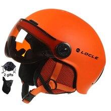 LOCLE Men Women Ski Helmet IN MOLD Winter Sports Skiing Helmets Ski Snowboard With Goggles Mask Snow Skate Helmet