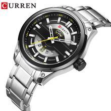 CURREN Silver Business Mens Quartz Wristwatch Waterproof Stainless Steel Brand Calendar Large Dial Clock Montre Homme все цены