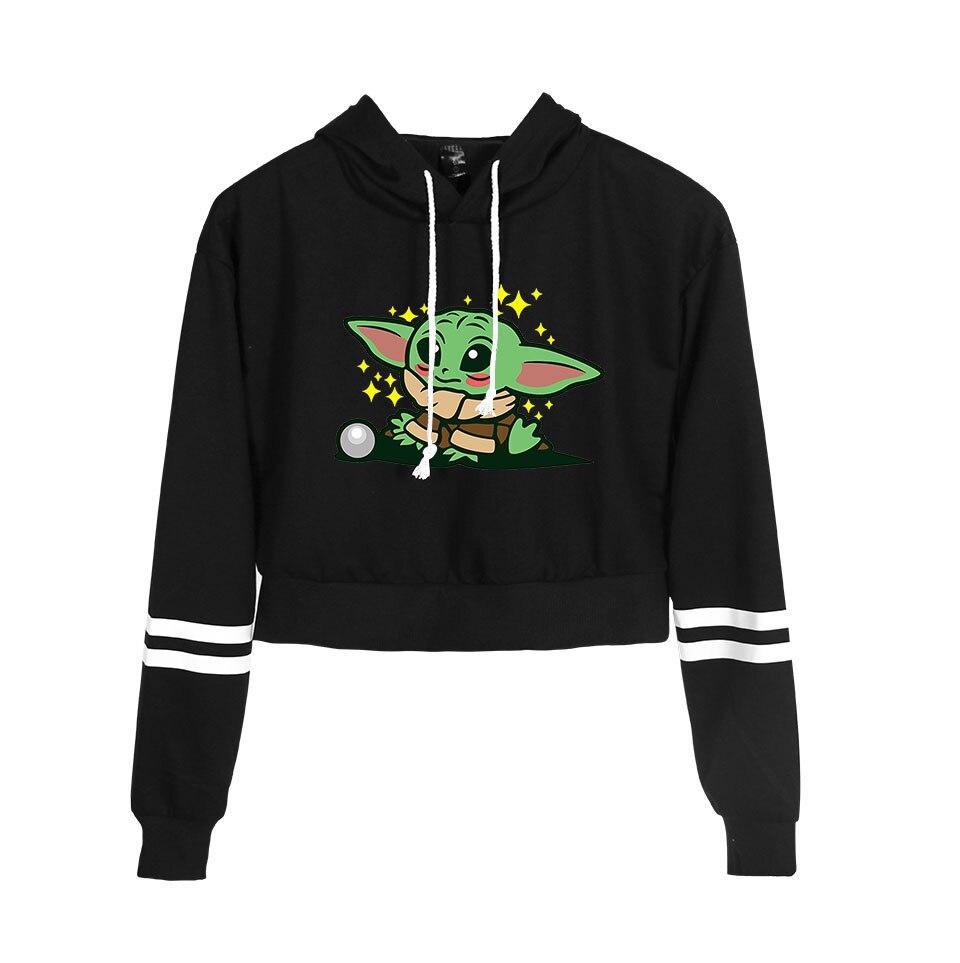 Baby Yoda Crop Top Hoodie Harajuku Women Hoodies Hip Hop Baby Yoda Mandalorian Printed Custom Hoodies Sweatshirts Hot Sale