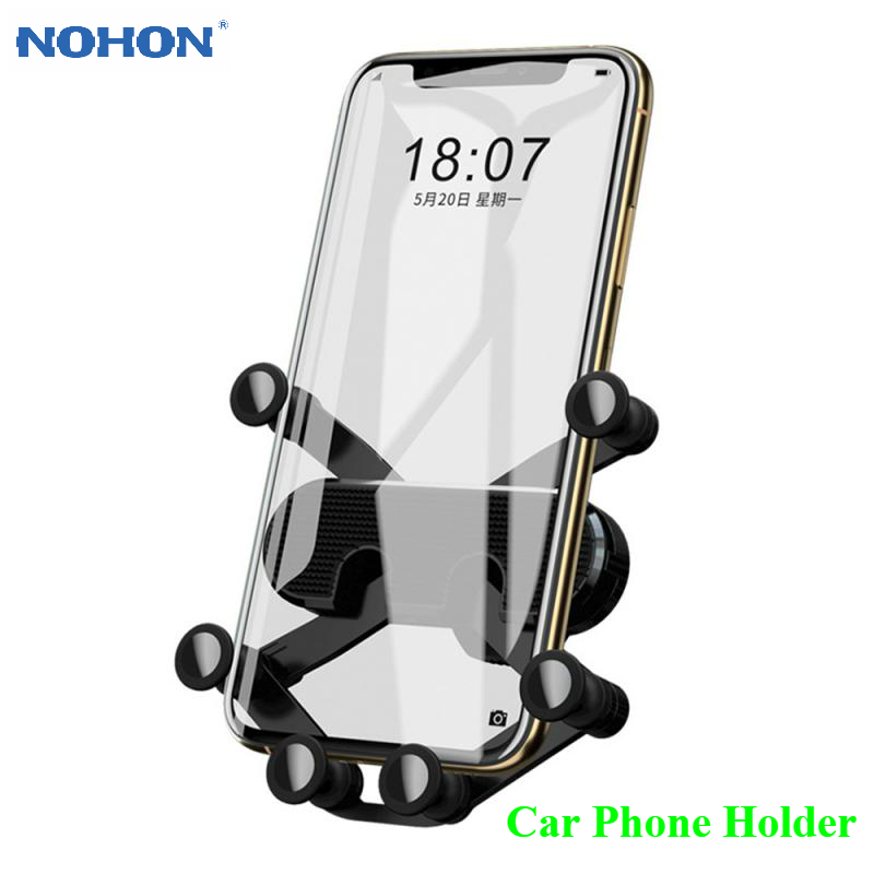 Nohon Gravity Car Phone Holder For IPhone Samsung Xiaomi Huawei Air Vent Clip Car Mount No Magnetic Phone Holder Mobile Stand