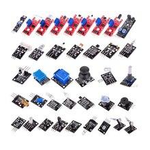 Para arduino 37 em 1 sensor kit joystick/fotossensível/detecção de som/evitar obstáculos/buzzer/18b20 sensores de temperatura conjunto