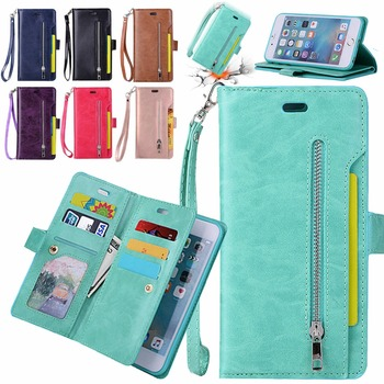 L-FADNUT For iPhone X Xr Xs 11 Pro Max 8 7 6S 6 Plus 5 5S SE 2020 12 Pro Card Zipper Wallet Phone Cover Flip Holder Leather Case