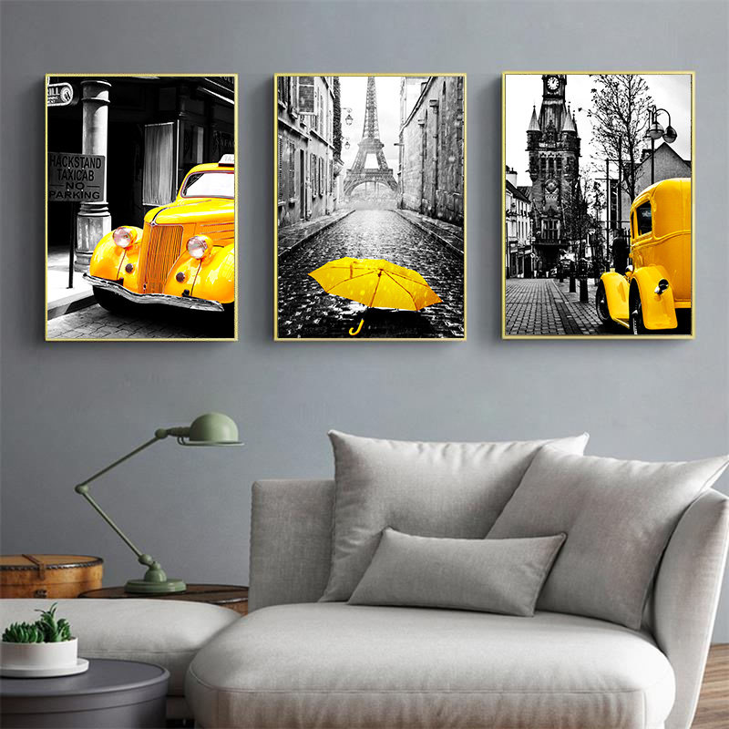Nordic Canvas Painting Modern City Street Landscape Poster Home Decor Wall Art Print Yellow Style Art Pictures For Living Room Painting Calligraphy Aliexpress