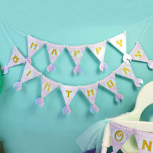 Mermaids Party Decoration Banner Baby Shower Happy Birthday Banner Kids Boy Girl Birthday Party Supplies Bunting Garland Flags space banner party decoration baby shower birthday banner party supplies kids boy girl birthday decoration bunting garland flags