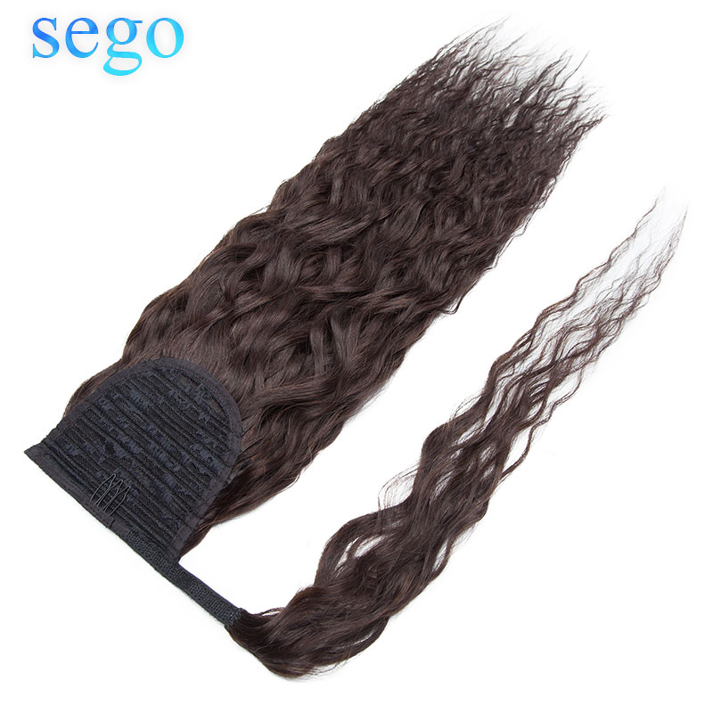 SEGO 80G-95G Corn Curly Drawstring Ponytail Hair Hair Extensions 100% Human HairWrap Around Hairpieces Non- Remy Clip in