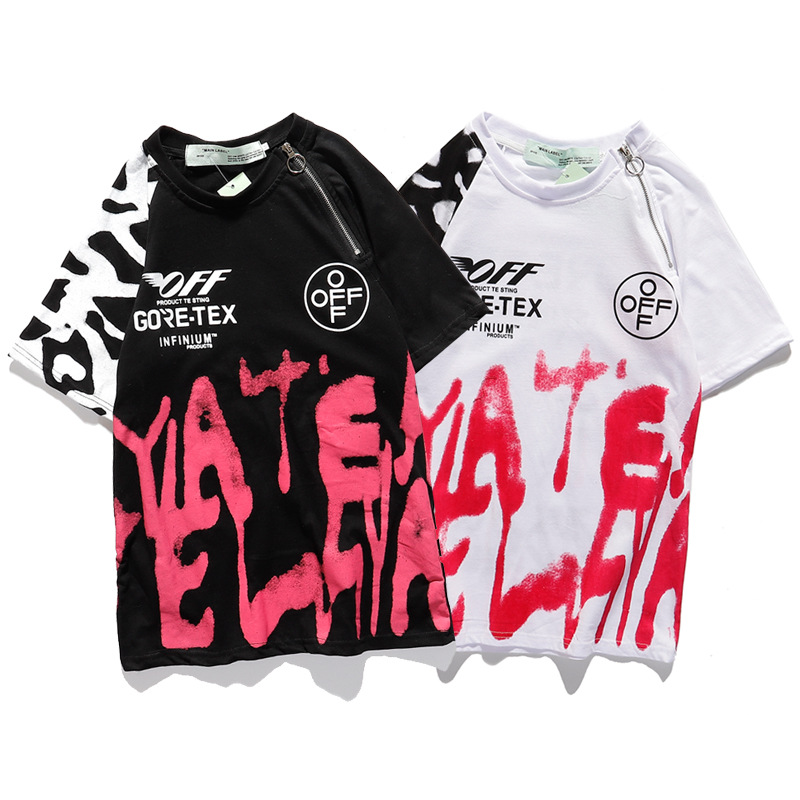 2020 Europe And America Popular Brand Off Watercolor Graffiti Printing Short-sleeved T-shirt Ow COUPLE'S