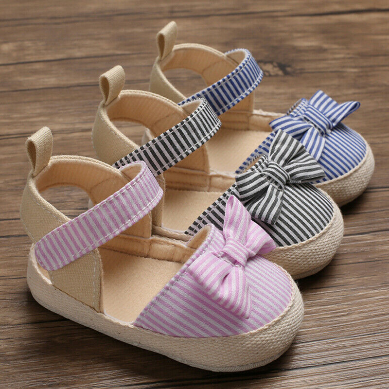 Children Summer Shoes Newborn Infant Baby Girl Boy Soft Crib Shoes Infants Anti-slip Sneaker Striped Bow Prewalker 0-18M