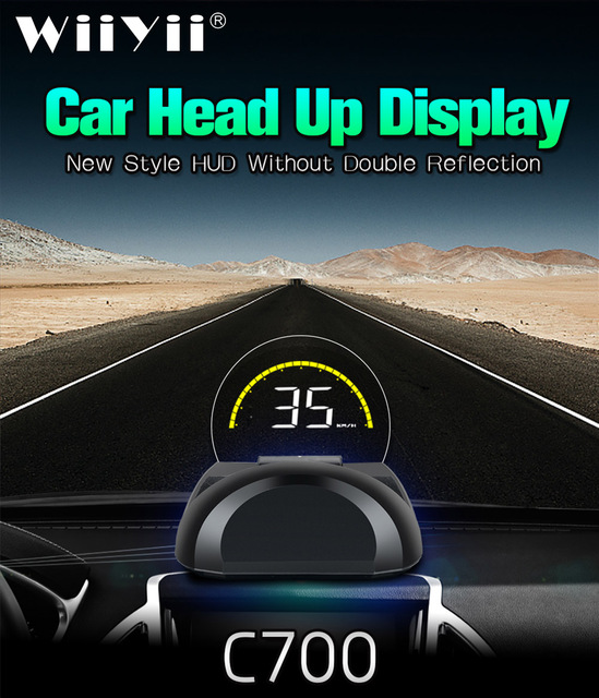 C700 OBD2 Auto HUD Head Up Display Con Specchio Rotondo Proiettore Digitale tachimetro Auto On Board di Carburante Del Computer chilometraggio Temp
