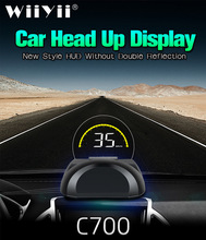 C700 OBD2 HUD Auto Head Up Display Mit Runde Spiegel Digital Projektor Auto tachometer Auf Board Computer Kraftstoff laufleistung Temp