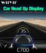 C700 OBD2 HUD araba Head Up ekran yuvarlak ayna ile dijital projektör araba hız göstergesi On kart bilgisayar yakıt kilometre sıcaklık