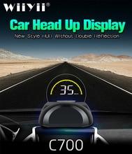 C700 OBD2 HUD רכב ראש למעלה תצוגה עם עגול מראה דיגיטלי מקרן רכב מד מהירות על לוח מחשב דלק קילומטראז טמפ