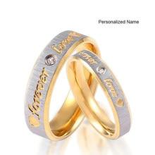 Anel de noivado da eternidade do casal dos anéis de casamento do amor do ouro do nome feito sob encomenda