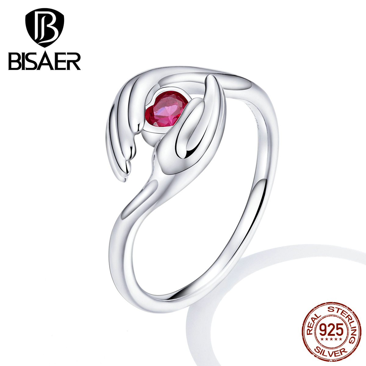 Love Hand Rings For Women BISAER 925 Sterling Silver Pink Love Heart For Medical Staff Finger Rings Women Jewelry EFR119