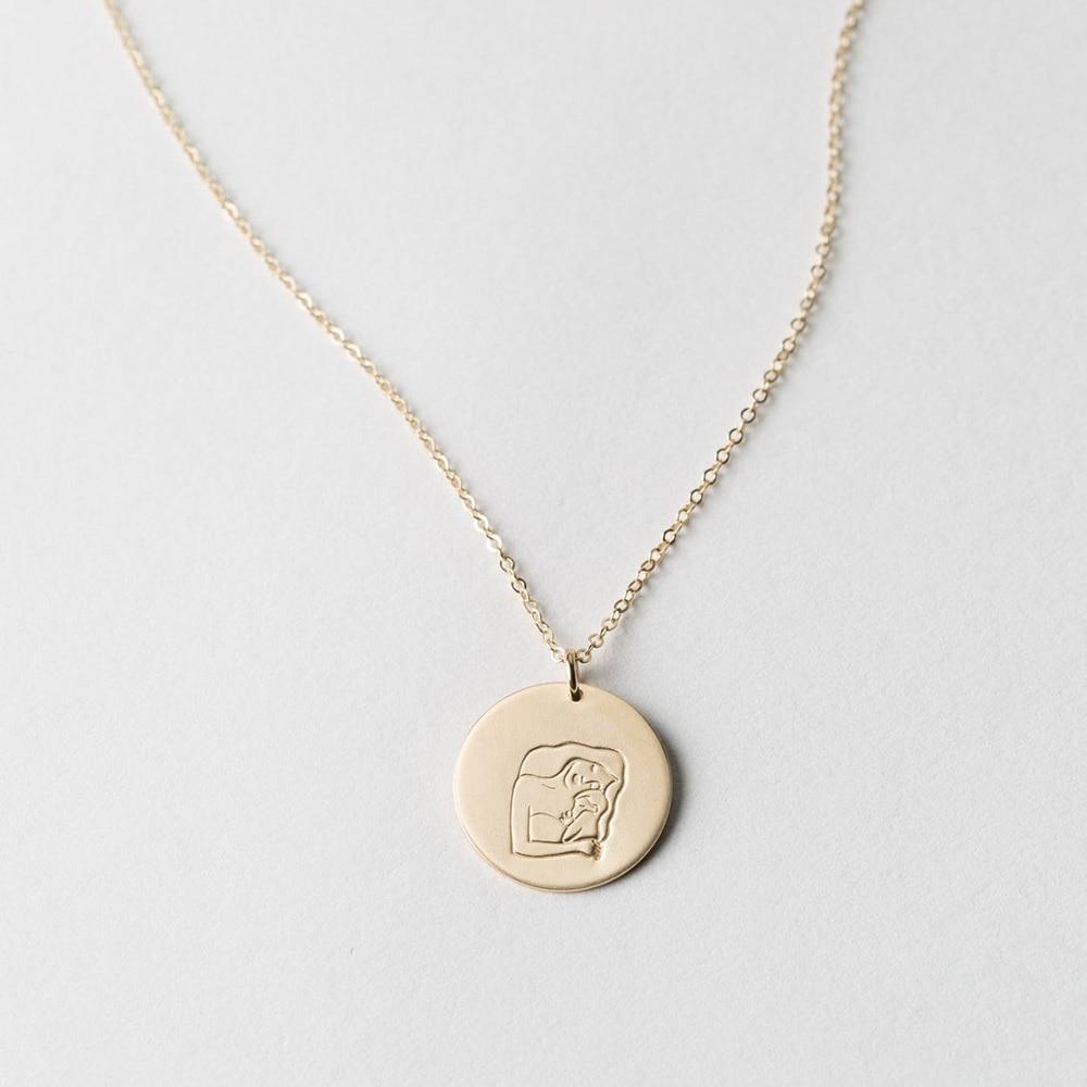 Изысканное позолоченное ожерелье для мамы и мамы новый диск ожерелье для мамы ювелирные изделия подарок для мамы ребенка 15 мм