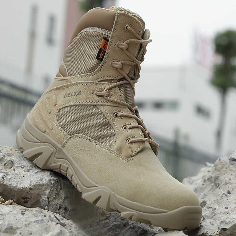 Militärische Taktische Herren Stiefel Spezielle Kraft Leder Wasserdicht Wüste Kampf Knöchel Boot Armee Arbeit Schuhe Plus Größe 39-47