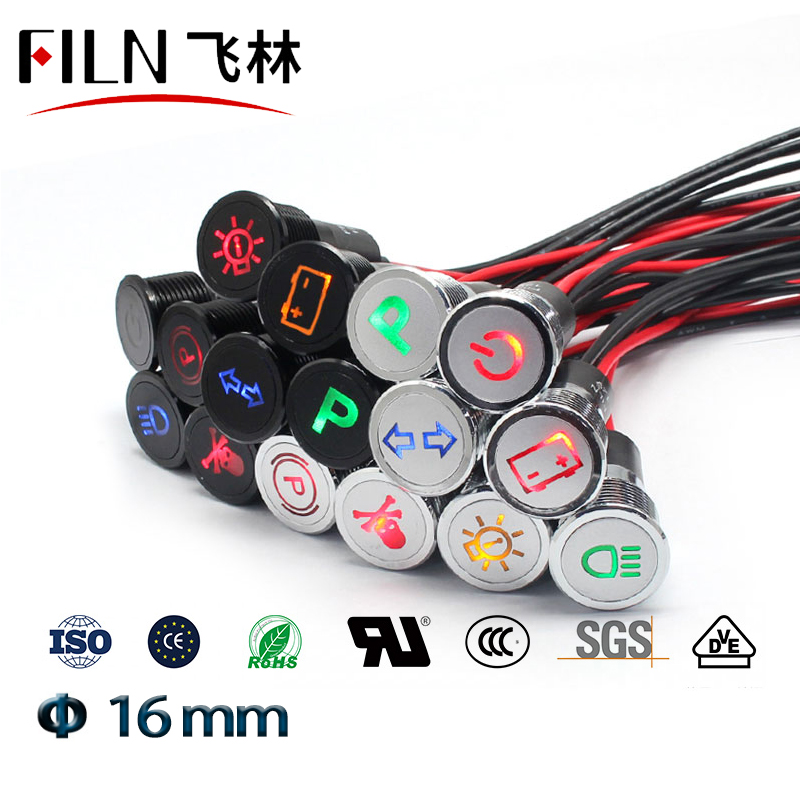 16mm Waterproof Lamp FILN 12V LED Car Boat LED Warning Dashboard Signal Lights Instrument Pilot Light