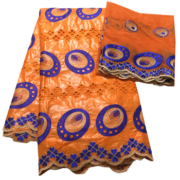 Hollow out design orange lace fabrics African bazin riche getzner and french tulle lace African fabric high quality lace