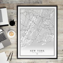 America USA M-R Black White City Map Poster  Living Room Melbourne New york Miami Wall Art Pictures Home Decor Canvas Painting city calm down melbourne