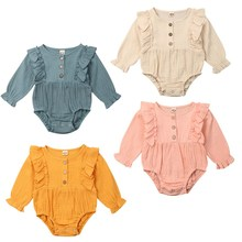 Новинка, 4 цвета, комбинезон с рюшами для маленьких девочек, Мягкий комбинезон, костюм, пляжный костюм, осенняя одежда