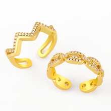 FLOLA Gold Chain Rings For Women Crystal White Stone Baguette Open Cuff Rings Adjustable Stackable Zirconia Jewelry Gifts rigj87