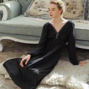 Image 4 - 우아한 블랙 Sleepdress 가을 잠옷 랜턴 슬리브 V 넥 보우 타이 긴 잠옷 나이트 가운 코튼 Nightdress Negligee T152