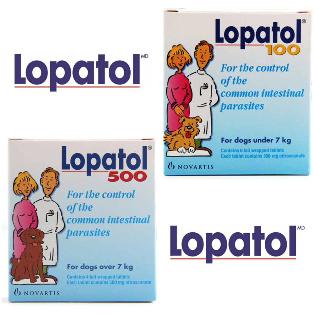 LOPATOL 100/500: Box Of 4/6 Tablets Oral Wormer Tablet Tapeworm Roundworm Worms Dogs